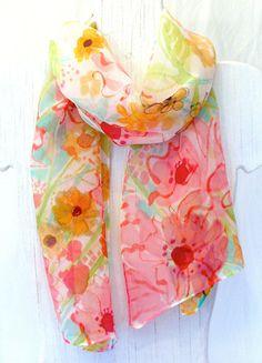 Hand Painted Silk Scarf Floral. Spring by SilkScarvesTakuyo