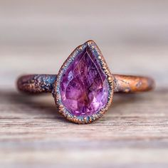 Amethyst Tear Drop and Copper Ring- Bohemian Gypsy Festival Jewellery - Indie and Harper