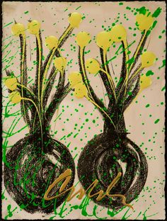 Dale Chihuly - Ikebana Drawing 2008 Mixed media on paper 30 x 22 inches - Arthur Roger Gallery