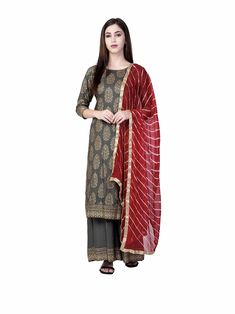 Kurta Palazzo, Palazzo Pants, Kurta Designs For Female, Plus Size Stores, Gold Print, Maroon Color, Salwar Suits, Kurti, Duster Coat