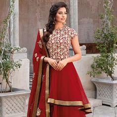 Red Net Double Layered Abaya Style Churidar Kameez