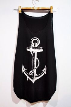 Anchor Tank Top Woman Black TShirt Tee Shirt par pingypearshop Pyjama  Femme 22ab7998c2a