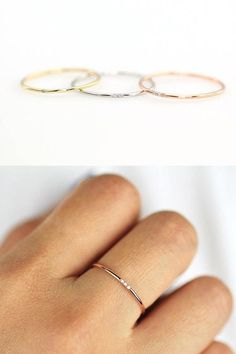 Minimalist Simple Diamond Ring, Rose Gold, Gold or Silver, Round Thin Ring with 1, 2 or 3 Diamonds, Wedding Band Engagement Ring #Diamondssimple