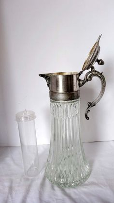 Pressed Clear Glass Ewer/Water Ice Keeper Pitcher Glass Home and Garden Kitchen and Dining Tableware Serveware Serving Pitchers and Carafes Serveware, Tableware, Water Carafe, Silver Water, Antique Glass, Kitchen Accessories, Old Houses, Clear Glass, Vintage Antiques