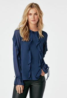 34897c914cd Ruffle Sleeve Top in Navy - Get great deals at JustFab Blusen Tops, Ruffle  Sleeve