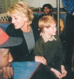 January, 1996:  Princess Diana and Prince Harry visiting Centrepoint Hostel for Homeless in Soho, London.