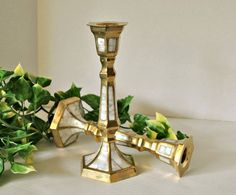 Hey, I found this really awesome Etsy listing at https://www.etsy.com/il-en/listing/253524343/brass-hexagon-candlestick-pair-with-mop
