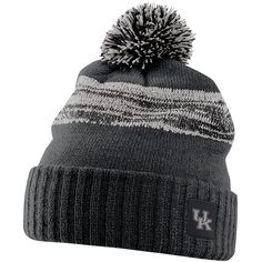 Nike Kentucky Wildcats Striped Knit Beanie ($32) ❤ liked on Polyvore featuring accessories, hats, ken black, beanie cap, striped beanie, nike hat, beanie hats and nike beanie