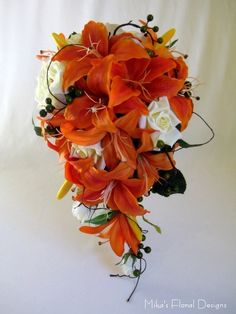 29 Trendy wedding bouquets lillies and roses Tiger Lily Bouquet, Tiger Lilies, Tiger Lily Wedding, Lily Bouquet Wedding, Wedding Corsages, Artificial Wedding Bouquets, Cascading Wedding Bouquets, Orange Wedding Flowers, Orange Roses