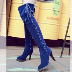 e60b7120b37 Autumn and Winter Fashion Faux Suede Slim Boots Sexy Girl On the Knee with  Platform Plush