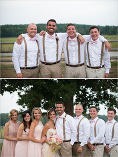 Pink and brown. I love the bridesmaid dresses and how they're different! And the groomsman outfits.