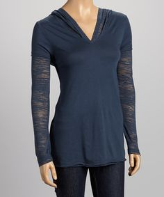 Take a look at this Indigo Sheer Hooded Layered Tee - Women by Kavio! on #zulily today!