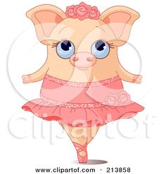 Royalty-Free (RF) Clipart Illustration of a Cute Ballerina Pig On Her Tippy Toes by Pushkin