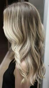 dirty blonde for fair skinned women, this style features a very pale blonde balayage over natural ashy or dishwater blonde hair.