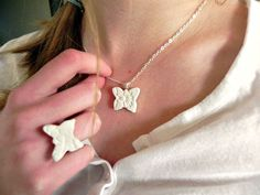 Ceramic White Butterfly Jewelry Set Sterling Silver by Ceraminic, Butterfly Gifts, White Butterfly, Butterfly Jewelry, Ceramic Jewelry, Jewellery, Ceramics, Sterling Silver, Trending Outfits, Unique Jewelry