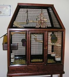 At Bird Cage Design we have been manufacturing decorative cockatiel bird cages for over 25 years. Every cockatiel bird cage is handcrafted in oak or cherry wood with a choice of 8 finishes. Bird Cage Design, Diy Bird Cage, Bird Cage Stand, Parakeet Cage, Cockatiel Cage, Bird Cages For Sale, Large Bird Cages, Rustic Bird Baths, Bird Cage Centerpiece