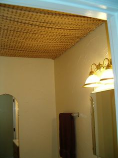 I stretched gathered fabric from curtain rods attached to the walls to hide an ugly dropped ceiling Drop Ceiling Basement, Bedroom Ceiling, Ceiling Decor, Ceiling Design, Ceiling Ideas, Balloon Ceiling, Meditation Room Decor, Fabric Ceiling, Kids Wall Murals