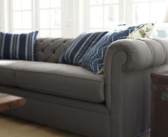 Chesterfield Sofa in Metal Gray Washed Linen/Cotton | Pottery Barn