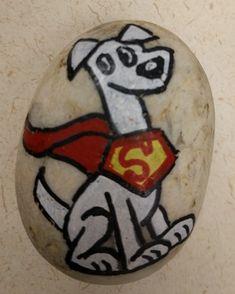 DC Super Pets. DC Comics. Superman's pet dog Krypto. Painted Rocks. #DBRLRocks
