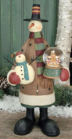 Snowman Holding A Snowman & Gingerbread Snow Globe Figurine – Christmas Folk Art & Holiday Collectibles – Williraye Studio $45.00