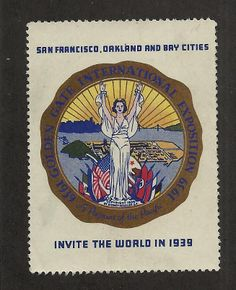 Golden Gate 1939 International Exposition Poster Stamp Cinderella NG AW999