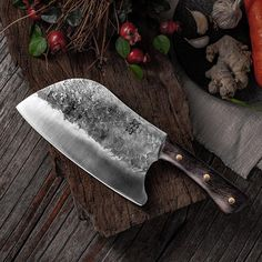 Handforged Chinesed meat chopper with ergonomic handle for perfect slicing and dicing of meats. Forging Knives, Forged Knife, Handmade Chef Knife, Handmade Knives, Best Kitchen Knives, Kitchen Tools, Chef Kitchen, Kitchen Dining, Cleaver Knife