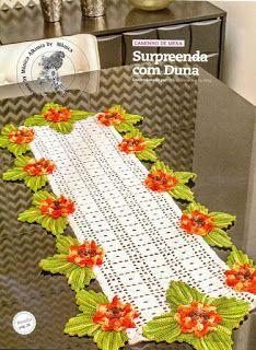 Uncinetto la mia Passione: Centro rettangolare con fiori 3D