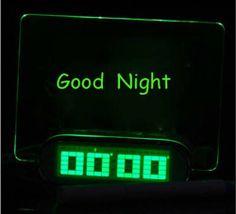 Godeeptech LED Fluorescent Message Board Digital Alarm Clock with 4 Port USB Hub-green Light