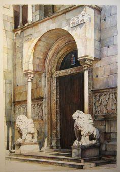 Duomo di Modena,acquerello by Giorgio Casoni (dipinto da Giorgio Casoni)