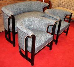 Sofa and armchairs, Art Deco, Black lacquer, 1920 - 80 cm x 136 cm x 60 cm (h x w x d), www. Armchairs, Sofas, Tub Chair, Antique Furniture, Accent Chairs, Art Deco, Antiques, Black, Home Decor