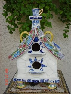 Tea Cup Cottage Mosaic Bird House