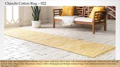 Yellow 7 x 10 Chindi Cotton Runner Rug , Modern Vintage Homes, Buy Rugs, Rug Making, Rug Runner, 9 And 10, Primary Colors, Yellow Rug, Colours, Beige