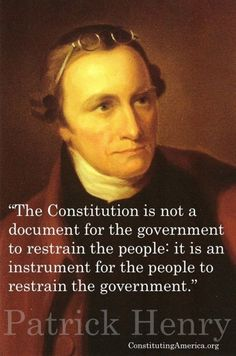 The Constitution is not a document for the government to restrain the people, it.-- The Constitution is not a document for the government to restrain the people, it is an instrument for the people to restrain the government. Quotable Quotes, Wisdom Quotes, Quotes To Live By, Me Quotes, People Quotes, Lyric Quotes, Change Quotes, Founding Fathers Quotes, Father Quotes