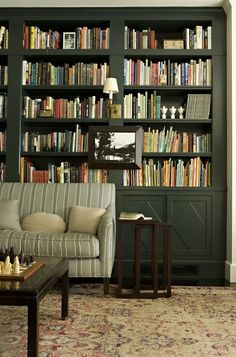 Love the forest green cabinetry - traditional family room by Tim Barber LTD Architecture & Interior Design