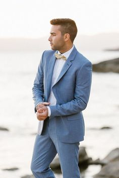 Wedding Suits Mallorca Beach Boho Wedding Inspiration - groom in light blue fitted suit - This Mallorca beach boho wedding styled shoot is making us crave some beach summer romance for an eloping couple! Light Blue Tux, Light Blue Suit Wedding, Mens Light Blue Suit, Blue Wedding Suit Groom, Blue Groomsmen Suits, Beach Wedding Suits, Wedding Men, Boho Wedding, Wedding Ceremony
