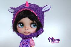 Unicorn HELMET blue plush for Blythe by Miema Dollhouse von miema4dolls auf Etsy