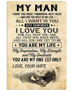 Perfect Gifts For Husband - To My Husband Poster Happy Anniversary To My Husband, Love For Husband, Love My Husband Quotes, Soulmate Love Quotes, Love Quotes For Him, Gifts For Husband, Happy Husband, Happy Wife, Best Husband