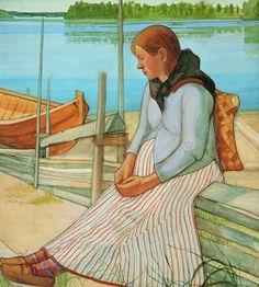 JUHO RISSANEN (1873-1950)  Woman Sitting on the Beach (1898)