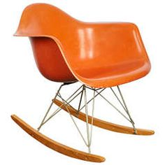 Charles And Ray Eames Orange Fiberglass Rocker, Manufactured By Herman  Miller