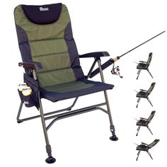 "Portable, reclining folding chair for fishing with integrated shoulder strap   Adjustable front legs and swivel ""mud"" feet for stability on uneven ground   Four-position, reclining backrest; padded seat and back   Fishing pole holder; two side cup holders; zippered storage pouch   Black powder coated frame of 25-millimeter steel and aluminum   Swivel feet on front legs keep chair from sinking in soft soil"