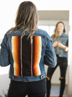 Denim Jacket Up-cycle Easy Stretches, Bird Design, Hand Weaving, Upcycle, Denim, Sleeves, How To Wear, Jackets, Free