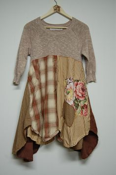 M/L Boho Chic Tunic in Shades of Brown Artsy by PrimitiveFringe