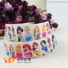 """Wholesale Free shipping 50 yards 1""""(25MM)  princess printed grosgrain ribbon, cartoon ribbon 46600 XCW 022 43-in Ribbons from Apparel & Accessories on Aliexpress.com $20"""