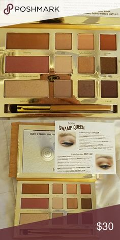 Tarte Makeup palette The limited edition Swamp Queen Tarte palette, gorgeous colors includes 9 eyeshadows a blush a bronzer and highlighter with a shadow brush and large mirror. Also comes with information card and direction on how to do looks super gorgeous. Never used in original packaging only opened to show colors. Tarte Makeup