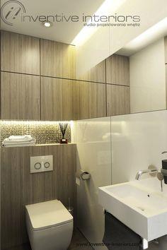 Projekt łazienki Inventive Interiors - mała łazienka przy sypialni - biały lacobel i jasne drewno