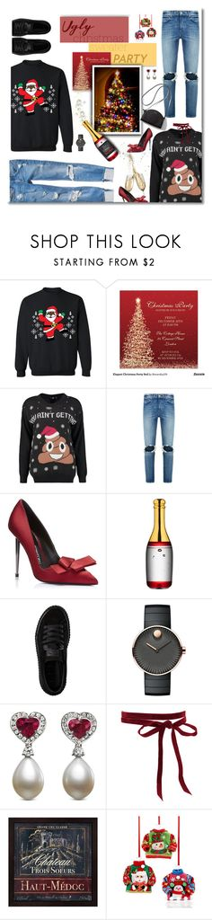 """Ugly Christmas Sweater Party"" by fassionista ❤ liked on Polyvore featuring Red Card, Boohoo, 7 For All Mankind, Kosta Boda, Puma, Movado, Pixie, Holiday Lane, Christmas and Sweater"