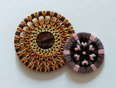 Ring thread buttons, new designs by Gina Barrett. Uses the German / Austrian method, not Dorset.