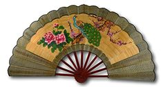 Festcool All Bamboo Vintage Classic Large Hand-Painted Chinese Decorative Wall Fan, Bamboo Braided, Peacock Peony Cherry Blossom for Blessings of Good Luck Decor, Bamboo, Wallpaper, Christmas, Wall Decor, Hand Painted, Christmas Wallpaper, Wall Fans, Vintage