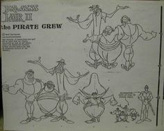 Don Bluth Dragons Lair II of The Pirate Crew Animation Model Sheet Drawing Cel | eBay