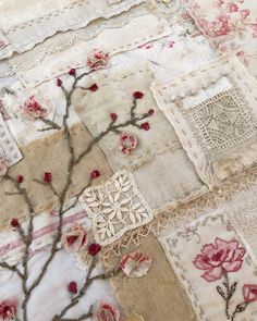 This piece was created using all vintage and antique French textiles from Lily P. Creative Embroidery, Vintage Embroidery, Embroidery Stitches, Hand Embroidery, Fabric Art, Fabric Crafts, Sewing Crafts, Sewing Projects, Vintage Quilts